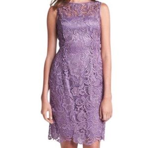 Adrianna Papell Illusion Neckline Lace Dress